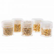 Assortiment de Perles en Métal (2 / 2.5 / 3/ 4 en 5 mm) Or (2300 pièces)