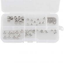 Mix de perles en Acier inoxydable (6 différentes tailles) Argent