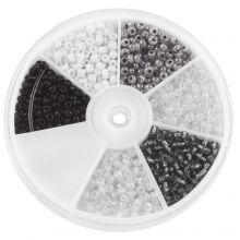 Mélange de Rocailles White / Black (3 mm) Mix Color