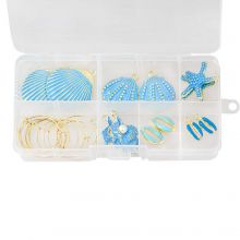Kit Bijoux DIY - Boucles d'Oreilles Coquille (différentes tailles) Or/Blue (12 pièces)