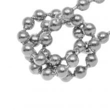 Chaine Bille Acier Inoxydable (2 mm) Argent Antique (1 Mètre)