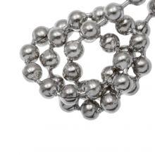 Chaine Bille Acier Inoxydable (2.4 mm) Argent Antique (1 Mètre)
