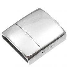 Fermoir Magnétique Acier Inoxydable (Diamètre de l'intérieur 18 x 4 mm) Argent Antique (1 pièce)