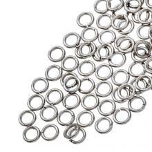 Anneaux de Saut Acier Inoxydable (4 mm) Argent Antique (100 pièces) Épaisseur 0.8 mm