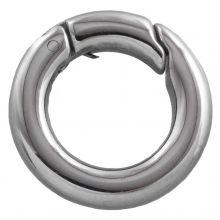 Porte-clés Acier inoxydable (18 mm) Argent Antique (1 pièce)