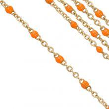 Chaîne Jaseron en Acier Inoxydable (2 x 1.5 mm) Orange / Or (2,5 mètres)