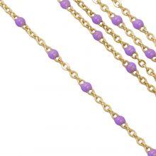 Chaîne Jaseron en Acier Inoxydable (2 x 1.5 mm) Purple / Or (2,5 mètres)