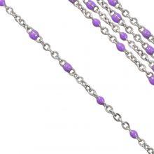 Chaîne Jaseron en Acier Inoxydable (2 x 1.5 mm) Purple / Argent Antique (2,5 mètres)