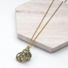 Collier en Acier inoxydable avec Coquillage Green (45 cm) or (1 pièce)