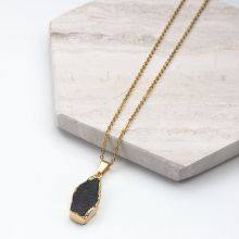 Collier en Acier inoxydable avec Pendentif Druzy Black (45 cm) or (1 pièce)