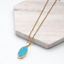 Collier Acier Inoxydable avec Pendentif Marbre Bleu (45 cm) or (1 pièce)