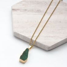 Collier en Acier inoxydable avec Pendentif Druzy Green (45 cm) or (1 pièce)