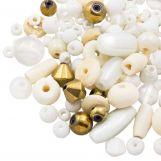 Mélange de Perles Diverses (tailles diverses) Floral White (50 grammes)