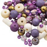 Mélange de Perles Diverses (tailles diverses) Purple Party (50 grammes)