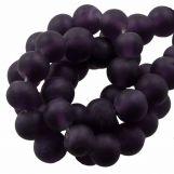 Perles En Verre Matt (8 - 9 mm) Eggplant (28 pièces)