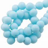 Perles En Verre Matt (8 - 9 mm) Sapphire (28 pièces)