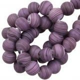 Perles en Verre Mat Rayé (8 x 9 mm) Purple (21 pièces)