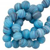 Perles en Verre Mat Rayé (8 x 9 mm) Sky Blue (21 pièces)