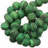 Perles en Verre Mat Rayé (8 x 9 mm) Bright Green (21 pièces)