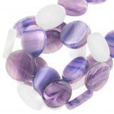Mélange de Perles En Verre Plat (12 x 3.5 mm) Lavender (30 pièces)