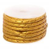 Cuir tissé métallique DQ (3 mm) Gold (2.5 mètres)