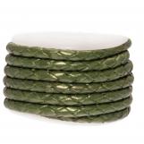 Cuir tissé métallique DQ (3 mm) Olive Green (2.5 mètres)