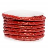 Cuir tissé métallique DQ (3 mm) Bright Red (2.5 mètres)