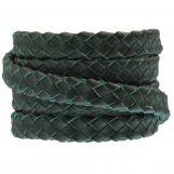 Cuir tressé ovale DQ (10 x 3 mm) Pine Green (1 mètre)