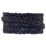 Cuir tressé DQ (5 x 2 mm) Navy Blue (1 mètre)