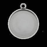 Acier Inoxydable Serti 1 Anneau (12 mm) Argent Antique (10 pièces)