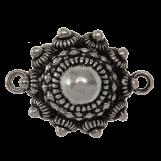 Bouton Zélandais Connecteur 2 Œillets (25 mm) Argent Antique (2 pièces) Diamètre du trou 2 mm
