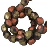 Perles Facettes Fire-Polished DQ (California Gold Rush Dark) 4 mm (50 pièces)