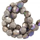 Perles Facettes Fire-Polished DQ (Glittery Argentic) 4 mm (50 pièces)