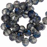 Perles Facettes Rondes (8 x 6 mm) Transparent Blue Shine (72 pièces)