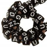 Perles Alphabet En Acrylique Mélange (6 x 6 mm) Black (100 pièces)