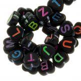 Perles Alphabet En Acrylique Mélange (7 x 7 mm) Black (200 pièces)