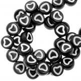 Perles Alphabet Coeur en Acrylique Mélange (6 x 3 mm) White / Black (350 pièces)