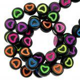 Perles Alphabet Coeur en Acrylique Mélange (6 x 3 mm) Mix Color (350 pièces)