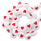 Perles Alphabet Coeur en Acrylique Mélange (7 x 4 mm) White / Red (350 pièces)