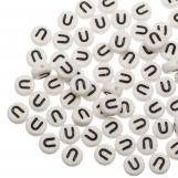 Perles Alphabet En Acrylique U (8 x 8 x 4 mm) White (25 pièces)