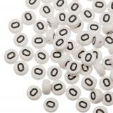 Perles Alphabet En Acrylique O (8 x 8 x 4 mm) White (25 pièces)