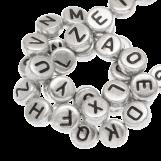 Perles Alphabet En Acrylique Mélange (7 x 3.5 mm) Zilver (400 pièces)