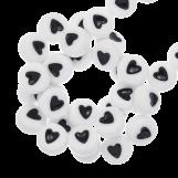Perles Alphabet Coeur en Acrylique Mélange (7 x 3 mm) White (350 pièces)