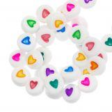 Perles Alphabet Coeur en Acrylique Mélange (7 x 3 mm) Mix Color (350 pièces)