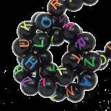 Perles Alphabet En Acrylique Mélange (7 x 8 mm) Black (200 pièces)