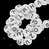 Perles Alphabet En Acrylique Mélange (7 x 8 mm) White (200 pièces)
