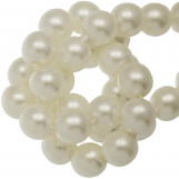 Perles en Verre Cirées DQ (8 mm) Broken White Matt (75 pièces)
