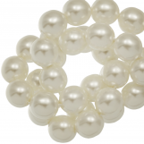 Perles en Verre Cirées DQ (8 mm) Broken White Shine (75 pièces)