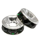 Rondelles Avec Strass (4 x 2 mm) Dark Green (10 pièces)