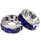 Rondelles Avec Strass (8 x 4 mm) Dark Blue (10 pièces)